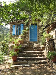 HAMLET LA GARDE FREINET St Tropez, France, garden, cute, cottage, house, blue, stone, shutters