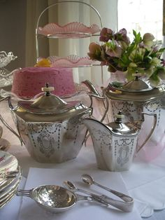 Vintage Styling - for hire from Heirloom Vintage Tableware - 1920's silver tea service