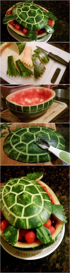10 Watermelon Carving Ideas and Tutorials - Page 2 of 5 - - Watermelon is refreshing and delicious to eat. Here are 10 Watermelon Carving Ideas and Tutorials that you can use for your next party. Watermelon Turtle, Watermelon Art, Watermelon Carving, Carved Watermelon, Watermelon Basket, Watermelon Designs, Cute Food, Good Food, Fruits Decoration
