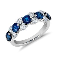 Classic Sapphire and Diamond Garland Ring in Platinum ct.) - I think diamond is beautiful, but when pair when gemstone, especially sapphire, the diamond turns into Spectacular! Blue Nile Jewelry, Sapphire Jewelry, Sapphire Diamond, Gemstone Jewelry, Diamond Jewelry, Sapphire Rings, Gold Earrings, Jewelry Rings, Sapphire Wedding