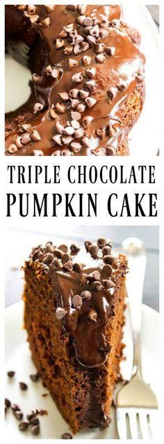 TRIPLE CHOCOLATE PUMPKIN CAKE