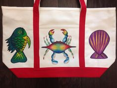 Beach Bag Hand Painted with Blue Crab Fish by GulfLifebyNichole, $44.99