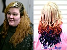 Before and after; Rainbow hair! Blonde, orange, pink, teal, blue, and purple! Kirby's Hairstyles!