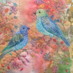 Bird embroidery using my dyed fabrics ,threads and vintage lace.Handstitched by Debbie Irving
