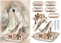 Beautiful Wedding Elegance on Craftsuprint designed by Anne Lever - This lovely topper features a bride looking out over a balcony, eith a sumptuous cushion containing a wedding shoe, a gorgeous pink rose and the wedding rings. It has decoupage to add depth, four greetings to choose from and a blank greetings tile. The greetings are congratulations, brightest blessings, beautiful bride and wedding day. - Now available for download!