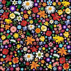 SOLD! #Colorful #Spring and #Summer #Flowers #vector #Pattern - Flowers & #Plants #Nature ~ by #bluedarkart on #Graphicriver  http://graphicriver.net/item/colorful-spring-and-summer-flowers-pattern/5498889