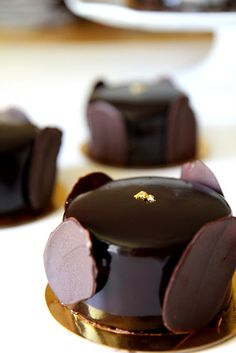 """Chocolate Glaze (Glaçage au Chocolat), here for """"Ambroisie"""" entremet by Hidemi Sugino. This is his most famous cake that won him a pastry championship and it is also the cover of his book. Click for the recipe. (for the glaze, boil water, sugar, cocoa and heavy cream then off heat add gelatin)."""