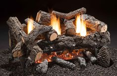 """Cozy Fire - Available in 18"""", 24"""" and 30"""" for Natural Gas or Liquid Propane Gas, with BTU ratings of 39,000.  24"""" Set shown Wood Burning Fireplace Inserts, Vented Gas Fireplace, Mounted Fireplace, Propane Fireplace, Fake Fireplace, Fireplace Hearth, Fireplace Design, Fireplaces, Gas Fire Logs"""