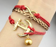 golden infinity karma braceletgolden anchor by handworld on Etsy, $4.59