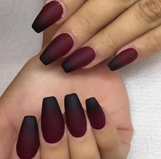 Matte black & red ombré nails