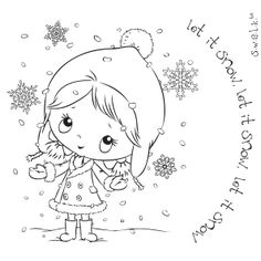 S.W.A.L.K / SWALK Crafter's Companion Stamp - Let It Snow Christmas Colors, Christmas Art, Christmas Embroidery, Hand Embroidery Patterns, Tampons, Coloring Book Pages, Digi Stamps, Copics, Winter