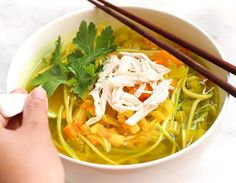 Turmeric Chicken Noodle Soup Recipe with Zoodles