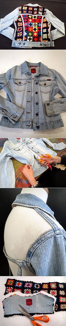 Jean jacket with knitting (Diy) \/ Kurtochnye of alteration \/ Second Street Crochet Coat, Crochet Tunic, Recycled Fashion, Recycled Denim, Fashion 2020, Diy Fashion, Womens Fashion, Outfit Jeans, Diy Clothing