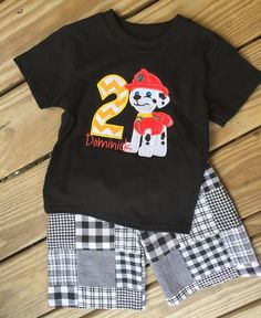 Marshall Paw Patrol Birthday Outfit, by Mimimadeitboutique on Etsy Paw Patrol Badge, Paw Patrol Party, Paw Patrol Birthday, 2nd Birthday Party Themes, Baby Boy Birthday, Birthday Shirts, Birthday Ideas, 4th Birthday, Disney World Outfits