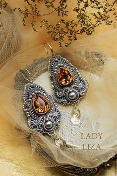 Soutache earrings, soutache, earrings soutache, earrings soutache, soutache jewelry, buy, grey soutache earrings, earrings with Topaz to buy, soutache earrings, bracelet, and earrings soutache