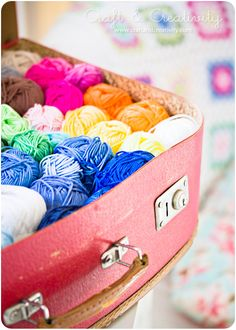 Use a vintage suitcase to store my yarn stash.