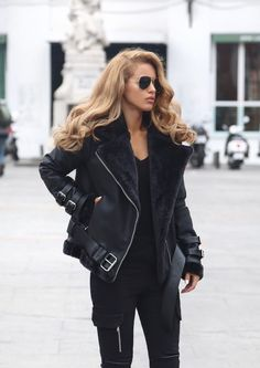 Shearling Biker Jacket - Maniere De Voir (Here)V Neck Ribbed Top - Topshop (Here)Cargo Trousers - Maniere De Voir (Here)Lace Up Boots / Similar River Island (Here)Sunglasses - Asos (Here)Marble Phone