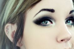black, blue, eyeliner, glitter, makeup wish I could do this.