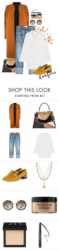 """""""The Fall"""" by yagmur ❤ liked on Polyvore featuring Warehouse, Fendi, Current/Elliott, Acne Studios, Topshop, Satya Jewelry, Miu Miu, Lancôme, NARS Cosmetics and Givenchy"""