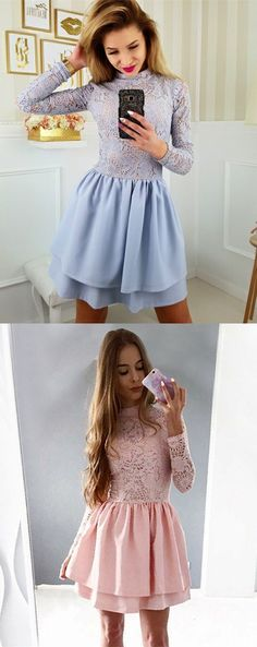 fashion tiered a-line homecoming dresses, short lace long sleeves prom party dresses, semi formal gowns.