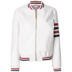 Thom Browne bomber jacket (13.730 BRL) ❤ liked on Polyvore featuring outerwear, jackets, white, striped bomber jacket, white flight jacket, colorful leather jacket, leather bomber jacket and leather flight jacket