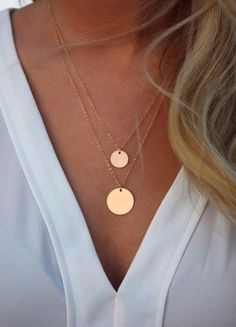 Jewelry Necklace Gold Filled Layered Necklace Set/ Set of 2 layered Necklaces/ Disk Necklaces/ Gold Filled Circles/ Layering Necklaces - Cute Jewelry, Gold Jewelry, Jewelry Box, Jewelery, Jewelry Accessories, Fashion Accessories, Jewelry Necklaces, Fashion Jewelry, Women Jewelry