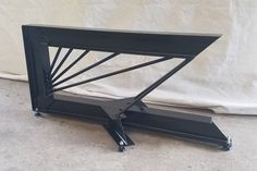 Cantilevered Steel I-Beam base by TimberForgeWoodworks