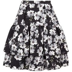 Womens Knee-Length Skirts Erdem Aine Floral-print Matelassé Skirt ($1,165) ❤ liked on Polyvore featuring skirts, floral print skirt, flower print skirt, colorful skirts, knee high skirts and tiered skirt