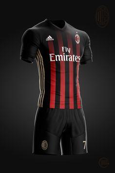 Milan - Fantasy Concept on Behance Sport Shirt Design, Sport T Shirt, Soccer Kits, Football Kits, Rugby Jersey Design, Soccer Uniforms, Football Outfits, Adidas Football, World Football