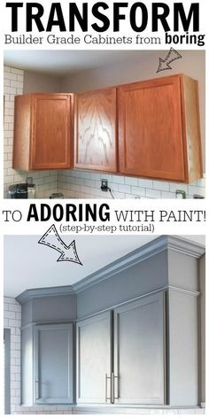 Learn how to easily paint kitchen cabinets with my tutorial. Included are details on tools needed and process. Everything to help you get the job done! #homefurniturekitchens