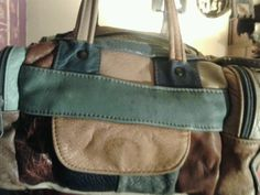 Vintage leather multicolored boho patchwork bag purse  tote FREE SHIP WORLD wide
