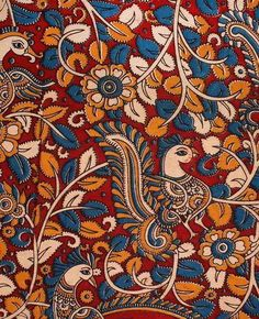 Charu Creations Private Limited - offering Multicolor Traditional Screen Printed Cotton Kalamkari Fabric at Rs in New Delhi, . Kalamkari Fabric, Kalamkari Painting, Motif Design, Pattern Design, Fabric Patterns, Print Patterns, Kalamkari Designs, Indian Art Paintings, Pattern Illustration