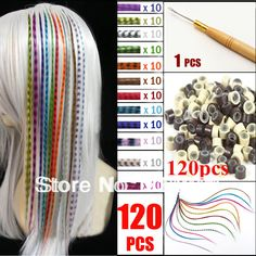 Free shipping 120pcs/set colorful 2014 Fashion Synthetic  Grizzly Feather Hair Extension with beads Pliers hook  Kit