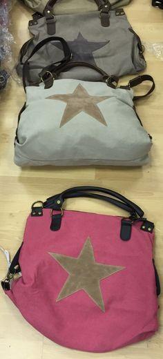 Taschen : Canvas Tasche mit großem Stern