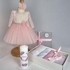 Trusou Botez Complet Eveline compus din rochita Eveline cu maneca scurta, trusou Rose Gold 7 piese, lumanare de botez Watercolor Tulle, Costume, Skirts, Fashion, Moda, Fancy Dress, Costumes, Skirt Outfits, Skirt