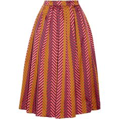 House of Holland Chevron jacquard skirt (€155) ❤ liked on Polyvore featuring skirts, fuchsia, below the knee skirts, jacquard skirt, multicolor skirt, red skirt and chevron print skirt
