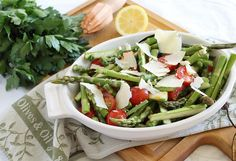 lemon asparagus tomato salad. All of this women's recipes look amazing!