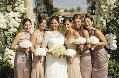 Mocha, champagne, colour bridesmaid dresses