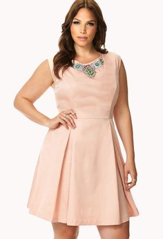 Elegant Rhinestoned Fit & Flare Dress   FOREVER21 PLUS - 2060253801