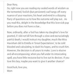 Lorelai's letter to rory about logan and what it really says Couldnt understand the writing so i screenshotted this and it all fell into place  #loganletter #gilmoregirls