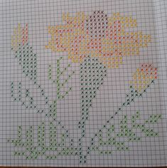 Paper Embroidery, Crewel Embroidery, Cross Stitch Embroidery, Cross Stitch Patterns, Bobble Crochet, Pixel Crochet, Crochet Stitches, Cross Stitch Heart, Cross Stitch Flowers