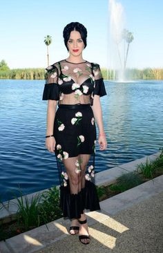 Music festival outfit idea: Katy Perry in a sheer floral dress at Coachella