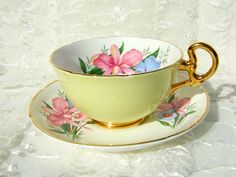 Vintage Porcelain Teacup and Saucer by Royal Grafton