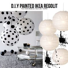Ikea paper lantern regolit DIY - i should do small stars on one for the kids room Ikea Paper Lantern, Hanging Paper Lanterns, Diy Light Shade, Diy Storage Cabinets, Home Decoracion, Playroom Decor, Ikea Hack, Diy Painting, Decoration