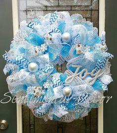Winter Wonderland věnec, Turquoise Blue & White Zimní Decor, White Christmas věnec, zimní Snowflake věnec, Joy věnec, Birthday Party Věneček