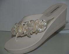 Wedding Beach Sandals - Bridal beach sandals 2 1/2''  platform