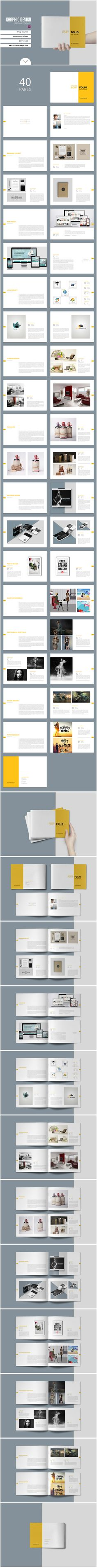 A4 Horizontal - Graphic Design Portfolio TemplateThis is 40 page minimal brochure template is for designers working on product/graphic design portfolios interior design catalogues, product catalogues, and agency based projects.Just drop in your own pi…