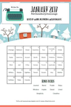 January 2017 #writeastorychallenge - Grab your FREE printable now to join in on writing a short story in the month of January. Go to http://www.picayunepen.com/write-story-challenge-january-2017/ now for challenge rules.