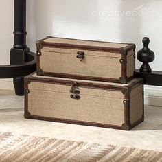 Khaki Canvas Covered Boxes, Decorative Storage ★ Creative Co-Op Home