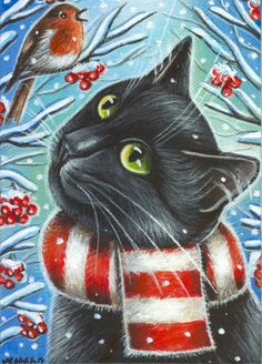 Black Cat & Robin Bird - Christmas Winter Painting